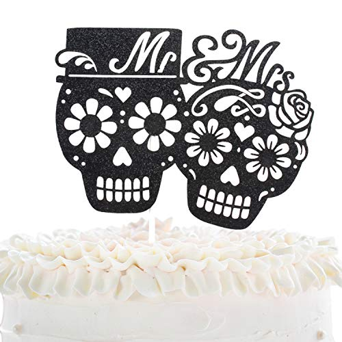 Mr And Mrs Wedding Cake Topper - Dia De Los Muertos Sugar Skull Cake Décor - Halloween Skeleton Day Of The Death - Gothic Till Death Wedding Party Decoration