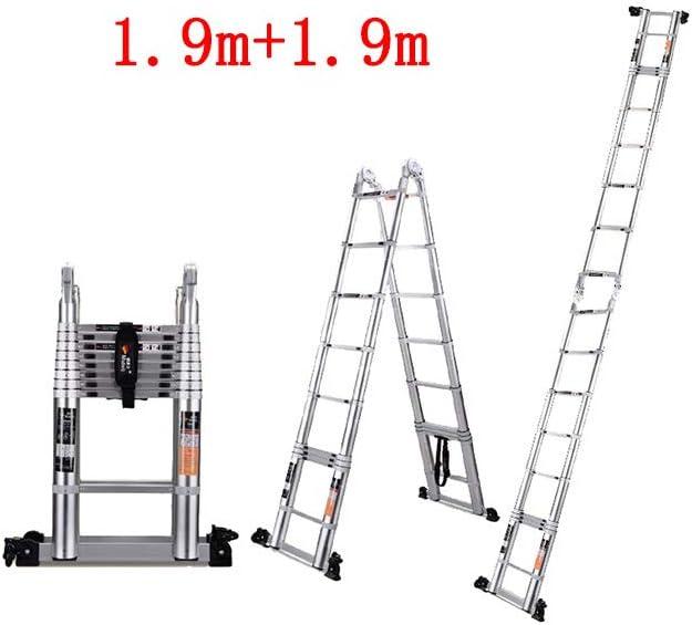 ZPWSNH Escalera telescópica hogar multifunción Plegable Subir y Bajar ingeniería Espina de Escalera Recta Doble aleación de Aluminio Taburete (Size : 2.8m+2.8m): Amazon.es: Hogar