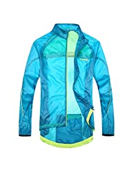 Santic Men's Windproof UV Protection Cycling Jacket Long Sleeve Wind Coat Large Blue