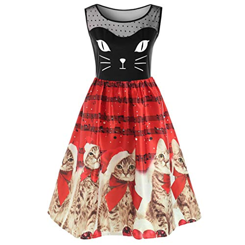 Sunhusing Women Fashion Sleeveless Christmas Gown Retro Kitten Cats Musical Notes Print Vintage Flare Dress for $<!--$9.19-->