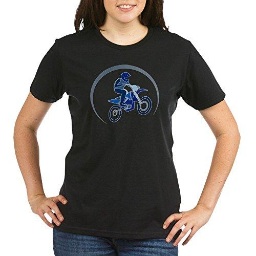 - Truly Teague Organic Women's T-Shirt Drk Motocross MX Flying Dirt Bike in Blue - Black, XL