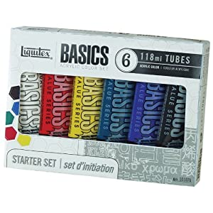 Liquitex BASICS Acrylic Paint Set, 4 Ounce Tubes, Assorted Color, Set of 6