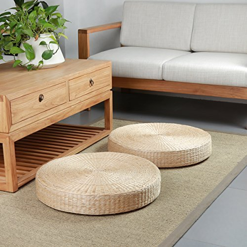 2 Seat Sofa Back Open (Eshow 2 Pieces Japanese Tatami Floor Pillow Set Zafu Natural Seat Furniture Set Meditation Floor Mat Cushion Multi-functional Handmade Breathable Circle Beige)