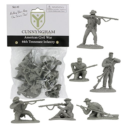 CC CIVIL WAR Confederate Plastic Soldiers - 44th Tennessee 12 GRAY 1:32 Figures (Plastic Figures War Games)