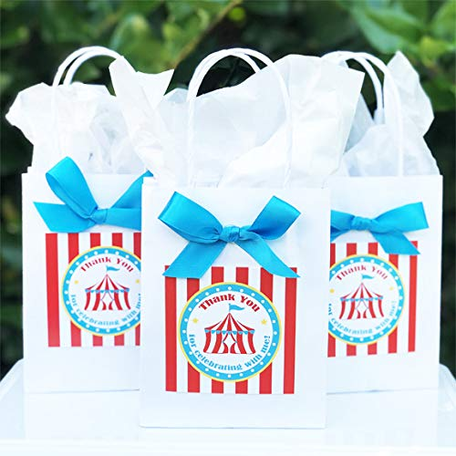 (Circus Big Top Favor Bags with Bows (set of 10) Carnival Party)