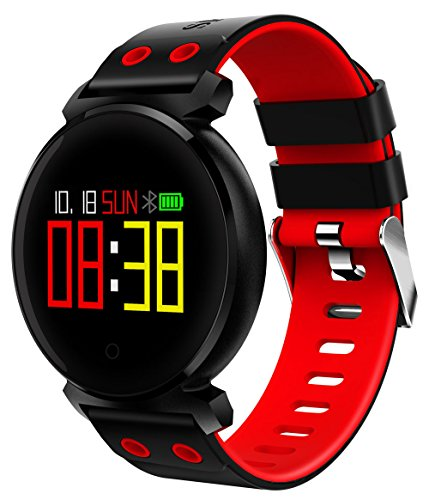 lifepot Bluetooth Smart Watch Sports Fitness Tracker IP68 Heart-rate Blood Pressure Monitor Smart Activity Tracker Wristband for IOS/Android Smartphones (Red) (Watch Her Diving)