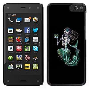Caucho caso de Shell duro de la cubierta de accesorios de protección BY RAYDREAMMM - Amazon Fire Phone - Sirena Muerte Esqueleto Negro Verde