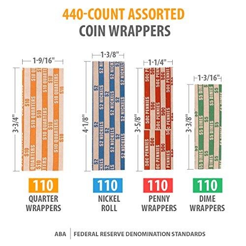 Envoltorios de rollo de moneda 440-Cuenta de una variedad de papeles para moned