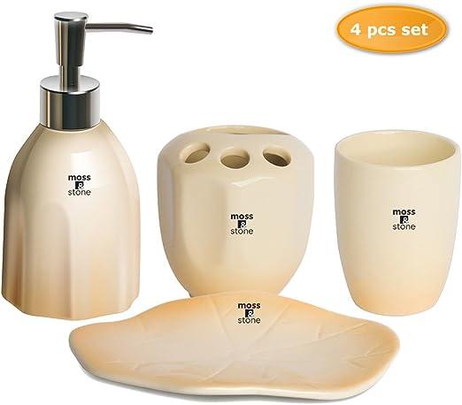 Dark Brown Ceramic Soap Dish Soap Dispenser Toothbrush Holder /& Tumbler Set