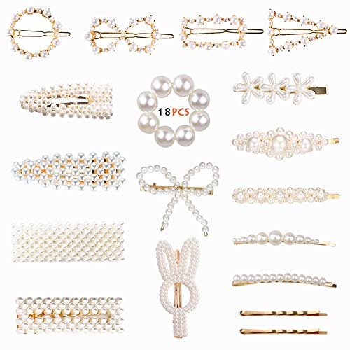 Finyosee 18PCS Fashion Artificial Pearl Hairpins - Alloy Geometric Bow Hairpin - Party Birthday Wedding Gifts - Bridal Girls Teens Hair Decoration ()