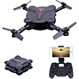 Dwi Dowellin RC Foldable Drone with FPV Camera Live Video Wifi App and Wifi Phone Control UAV Quadcopter Altitude Hold 3D Flips Rolls RTF Helicopter X18-30W Black