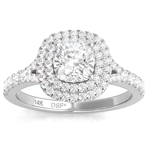 Diamond Studs Forever 14K White Gold Diamond Double Halo Engagement Ring 1.25 Ctw IGI USA Cert GH/I1