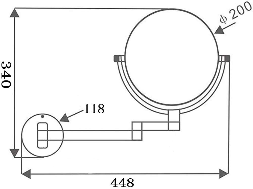ZHAONI 10X Ingrandimento Specchio Ingranditore Specchietti da Trucco A Parete con Luce LED Bilaterali Girevole Orizzontali A 360 /° E Verticali Finitura Cromata ,Warmlight,Charging 8 in