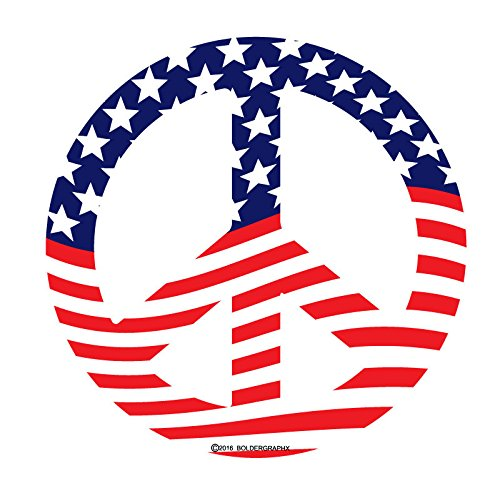 (BOLDERGRAPHX 2033 Peace Symbol Decal with American Flag 5
