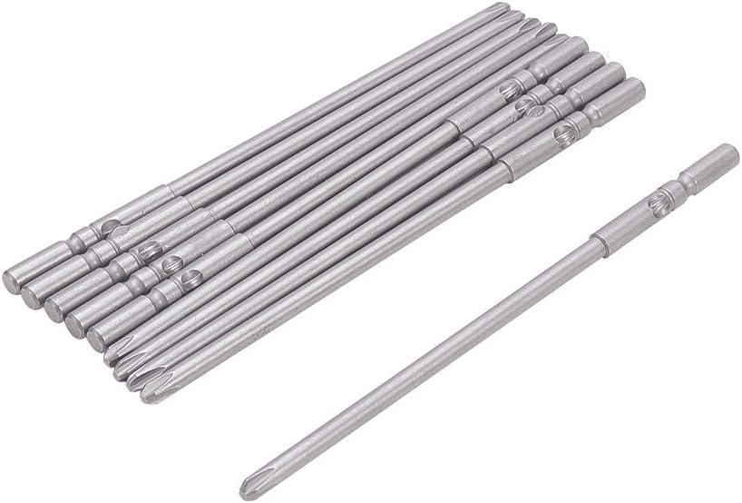 Utoolmart 5mm Round Shank 60mm Length 5mm PH1 Magnetic Screwdriver Bits 10Pcs