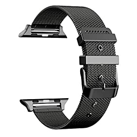 Aguara 42mm Milanese Loop Apple Watch Band Classic Buckle Stainless Steel iWatch Band (Black)