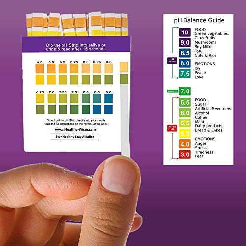 Tiras medidoras del pH, 120 unidades + BONUS, diagrama de alimentos alcalinos en PDF + eBook con 21 recetas de dieta alcalina para equilibrar el pH. ...