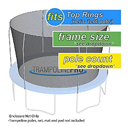 Trampoline Enclosures Nets (Net Only) | Find Your Size by Selecting Your Existing - Pole Shape - Frame Size - # of Poles Trampoline Pro