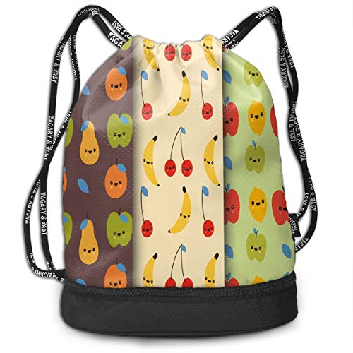 035af1bbf635 Drawstring Bag Banana Apple Pear Cherry Womens Gym Backpack Custom  Personalized Mens Travel Canvas Bags for