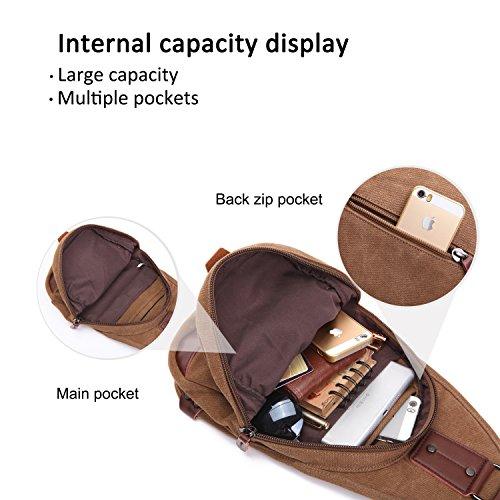 Sling Bag Brown Fandare New Ipad 9.7 Inch Portable Trade Trip Excursion Party Crossbody Shoulder Large Capacity Men / Women Breathable Canvas Khaki