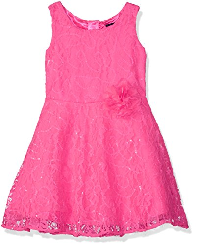 The Children's Place Girl's Little Girls Sleeveless 3D Flower Sequined Lace Dress, Pink - (Childrens Place Girls Flower)