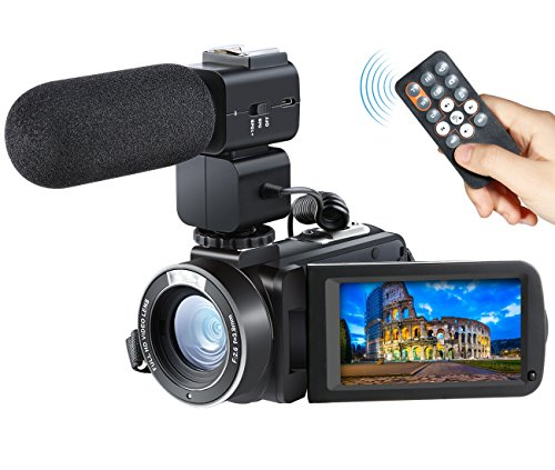 Camera Camcorder, Besteker Remote Control WiFi Video Camcorders, Full HD 1080P 24MP 30FPS Portable Digital Recorder with External Microphone