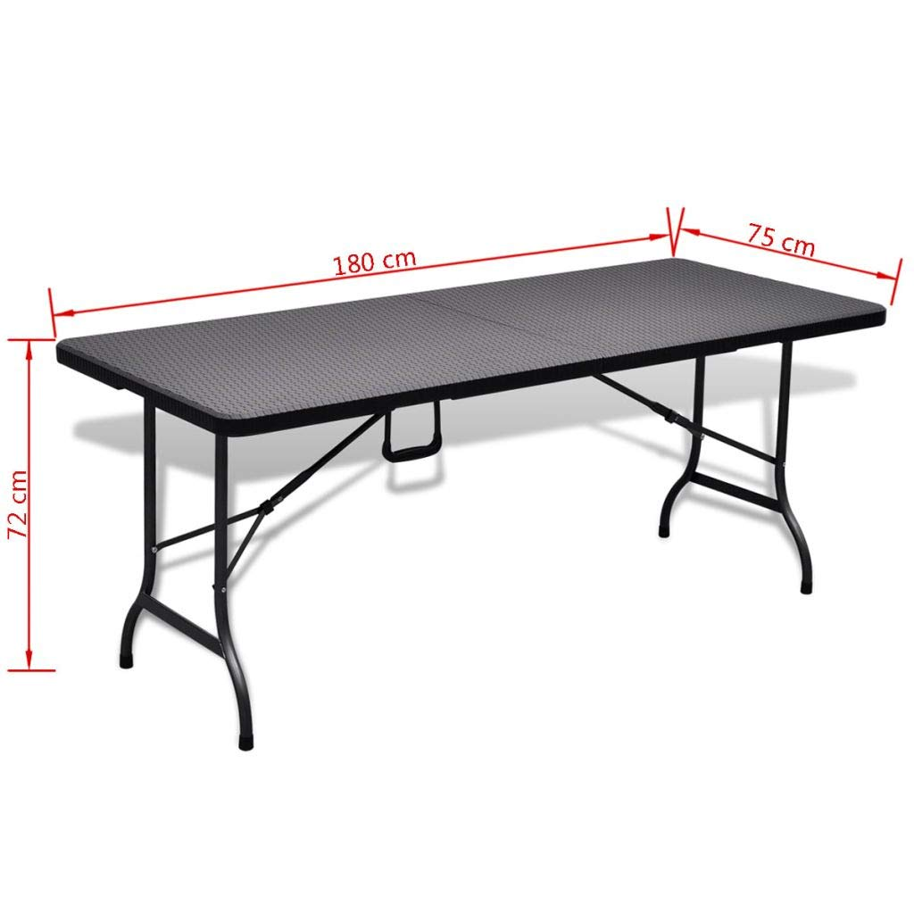 Nishore Folding Portable Garden Table Indoor Outdoor Picnic Party Dining HDPE Black Imitation Rattan 70.9 x 29.5 x 28.3 L x W x H Weather Resistant