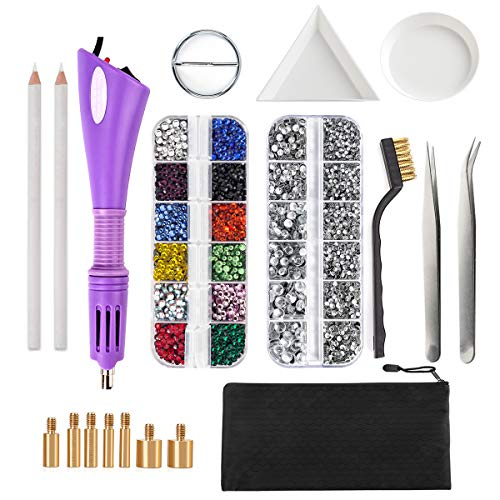 Hotfix Applicator, Dorhui DIY Hot Fix Rhinestone Applicator Wand Setter Tool Kit with 7 Different Sizes Tips, Tweezers & Brush Cleaning kit and 2 Pack Hot-Fix Crystal Rhinestones