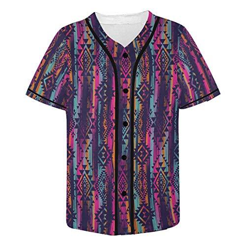 (INTERESTPRINT Men's Line Tribal Aztec Baseball Jersey Button Down T Shirts XS)