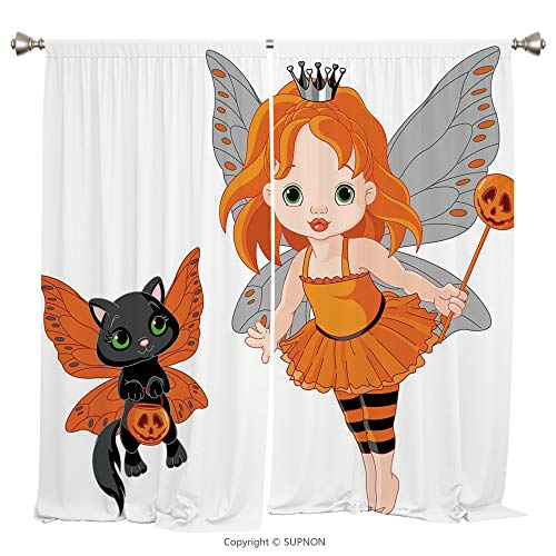 Rod Pocket Curtain Panel Thermal Insulated Blackout Curtains for Bedroom Living Room Dorm Kitchen Cafe/2 Curtain Panels/108 x 84 Inch/Halloween,Halloween Baby Fairy and Her Cat in Costumes Butterflies]()