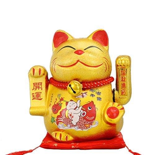 """9""""Porcelain Waving Lucky Fortune Cat Maneki Neko Japanese Lucky Cat #01"""