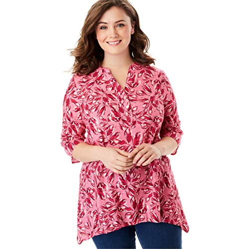 Woman Within Women's Plus Size Buttoned Notch Neck Gauze Maxi Tunic - Bright Pink Soft Leaves, 14/16