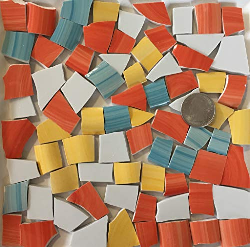 Mosaic Art & Crafts Supply ~ Modern Abstract Blue Black & Yellow Tiles (B327) ()