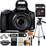 Canon Powershot SX60 16.1MP Digital Camera w/ 65x Optical Zoom Lens ULTIMATE bundle w/ 32GB Memory, PRO Tripod, Extra Battery, Wrist Strap, Reader, Remote Flash & Super Savings Cleaning Cloth and MORE