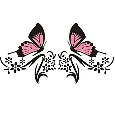 Practisol Car Decals for Women,1 Set Butterfly and Flower Car Decal Stickers, Vinyl Car Graphics Side Hood Decals for Cars/SUV, Universal Scratch Hidden Car Sticker (Pink Black): Automotive