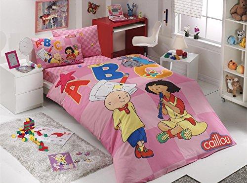 DecoMood 100% Cotton Caillou and Sarah Themed Girls Bedding Set, Single/Twin Size Duvet Cover Set, Pink (3 Pcs)
