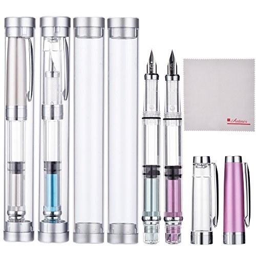 Wing Sung 3008 Silver EF 0.35mm Thin Piston Fountain Pen Set of 4 Pieces, 4 Colors