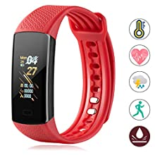 Fitness Tracker with Body Temperature Blood Pressure Oxygen Heart Rate Sleep Monitor Step Counter Call Message for Women Men Kids Boys Girls (Blue)