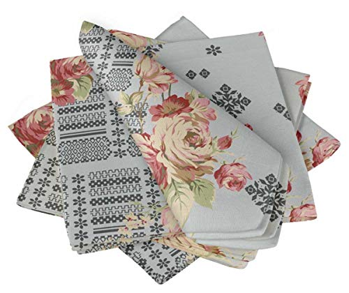 S4Sassy Gray Abstract & Amber Flush Floral Holiday Parties Cloth Table Linen Re-Usable Dinner Napkins Set 20 x 20(Pack of 4) ()