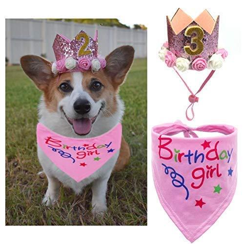 JAMSTONE Dog Birthday Bandana Scarfs Girls Crown Dog Birthday Hat Doggie Cat Triangle Scarf Set Pet Birthday Decoration(Pink) -