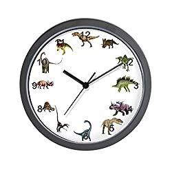 CafePress Dinosaur Wall Clock with Black Numbers - Standard Multi-color