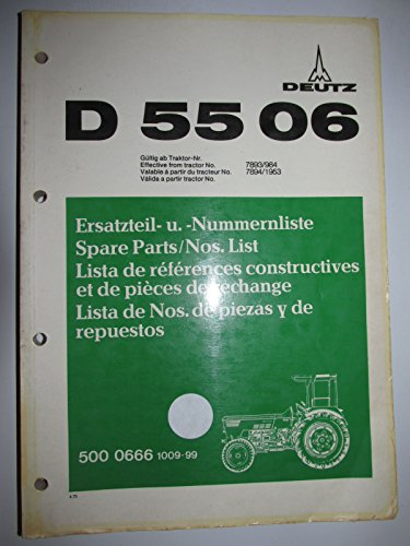 - Deutz D5506 Tractor Parts Catalog Book Manual Original 500 0666