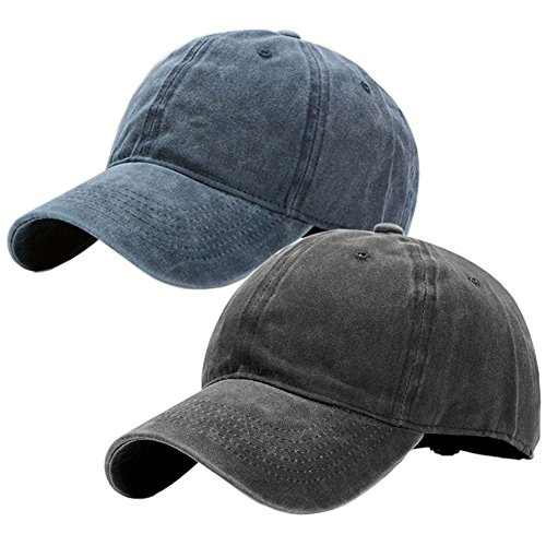 - Vintage Washed Dyed Cotton Twill Low Profile Adjustable Baseball Cap (A-Navy Blue+Black)