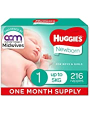Huggies Newborn Nappies Size 1 (up to 5kg) 1 Month Supply 216 Count