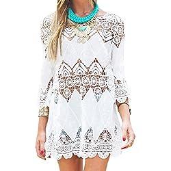 GDKEY Women's Beach Wear Bikini Cover Up Crochet Tunic Dress(M,White)