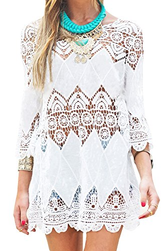 GDKEY Women's Beach Wear Bikini Cover Up Crochet Tunic Dress(XL,White)