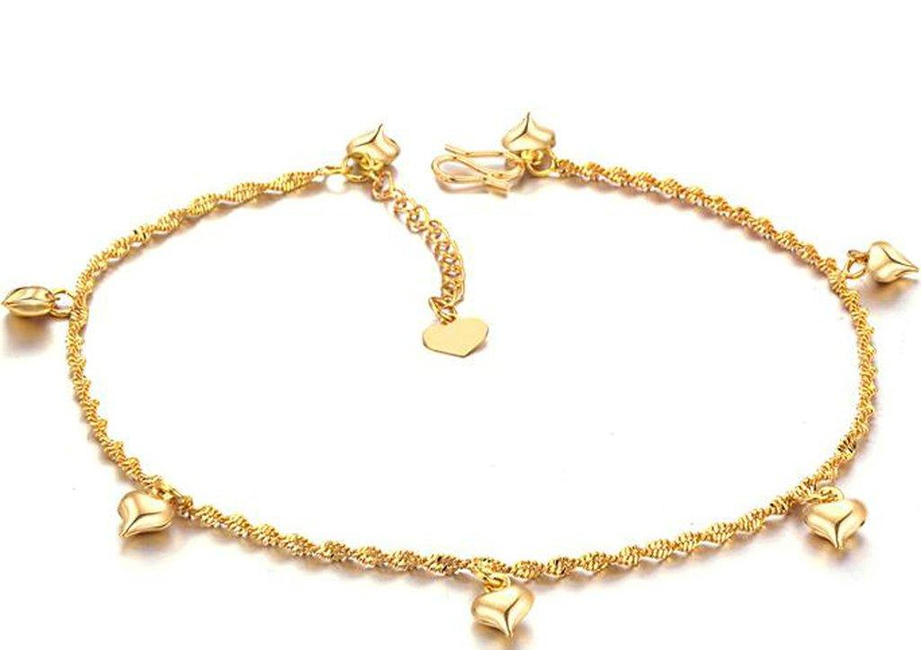 Epinki 18K Gold Plated Ankle, Women Ankle Bracelet Pendent Twist Link Heart Shape 30CM Adjustable Gold