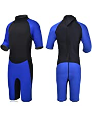 Realon Kids Wetsuit Shorty Full 3mm Premium Neoprene Lycra Swimsuit Toddler Baby Children and Girls Boys Youth Swim Surfing Snorkel Dive Snorkel Back Zip Suit