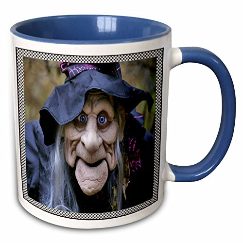 3dRose Sandy Mertens Halloween Designs - Old Lady Costume with Frame - 15oz Two-Tone Blue Mug -
