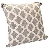 Lattice Dhurrie Light Grey Cream Quatrefoil 20 x 20 Indoor Outdoor Throw Pillow